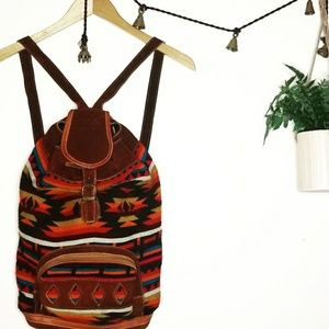 《Handmade》Peruvian Made Tribal Knit Suede Backpack
